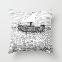 ship Throw Pillows featuring Ship by Mr.Willow