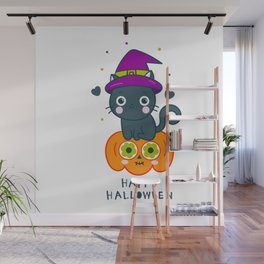 HAPPY HALLOWEEN CAT/PUMPKIN Wall Mural