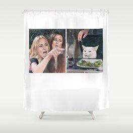 Woman Yelling at Cat Meme-3 Shower Curtain