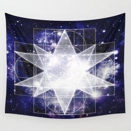 Sacred Geometry : Dark Blue Galaxy Wall Tapestry