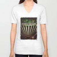 john green V-neck T-shirts featuring John Deere by Justin Alan Casey