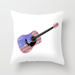 Stars and Stripes Guitar Throw Pillow