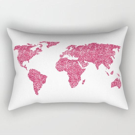 World Map Hot Pink Glitter Sparkles Rectangular Pillow