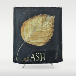 Hand-Painted Fall Ash Leaf Shower Curtain