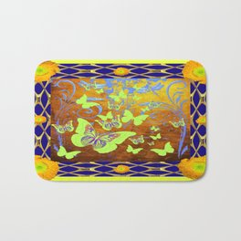 Yellow Butterflies Poppy Floral Blue Pattern Art Bath Mat