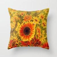 sunflowers Throw Pillows featuring SUNFLOWERS by Vargamari