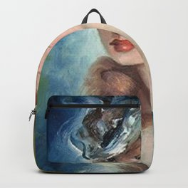 Belle Jeune Femme à Paris, female portrait painting Backpack
