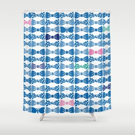 butterfly tie +blue Shower Curtain