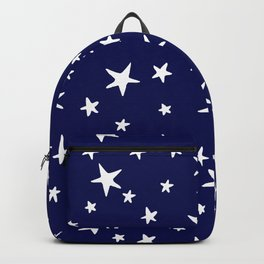 Stars - White on Dark Royal Blue Backpack