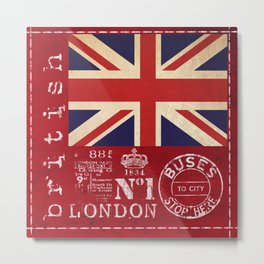 Union Jack Great Britain Flag Metal Print