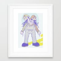luigi Framed Art Prints featuring Mario & Luigi by nes-draws