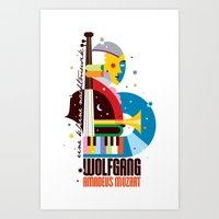 mozart Art Prints featuring Mozart by Szoki