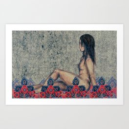 Figure with floral fabric Art Print