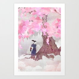 Tengami - Winter Cherry Tree (Portrait) Art Print