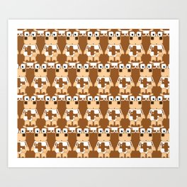 Super cute cartoon cow in brown and white - a moo-st have design for  cow enthusiasts! Art Print