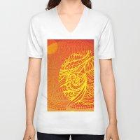orange pattern V-neck T-shirts featuring Orange Pattern by RifKhas