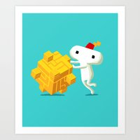 fez Art Prints featuring The Prince with a FEZ by MeleeNinja
