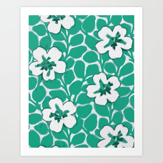 Painted Floral (Emerald) Art Print