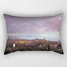 Snowing in the Alhambra, Granada, Spain at sunset Rectangular Pillow