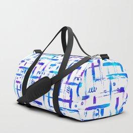 Blue brush stripes plaid on white Duffle Bag