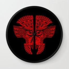 Red and Black Aztec Twins Mask Illusion Wall Clock