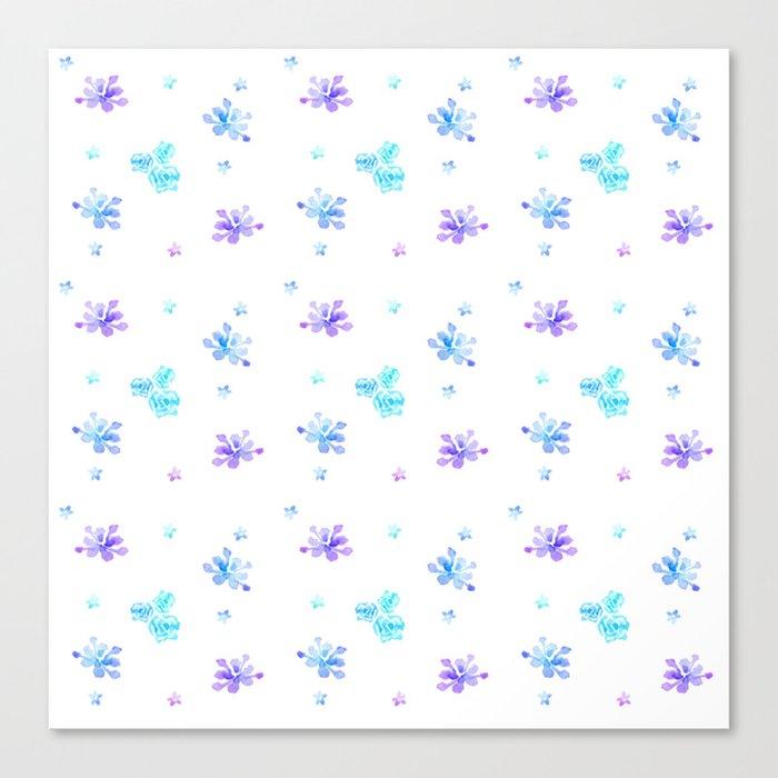 Watercolor Floral Print (blue + violet) Canvas Print