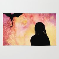 mother of dragons Area & Throw Rugs featuring Mother of Dragons Silhouette over Red + Yellow by Jessica Barst