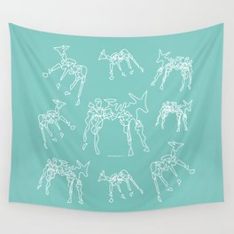 Animals mint and white pattern Wall Tapestry
