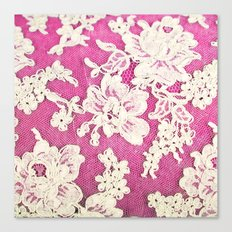 pink lace-photograph of vintage lace Canvas Print
