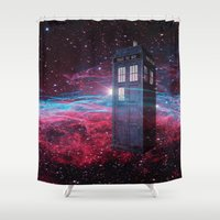 dr who Shower Curtains featuring Dr Who police box  by store2u