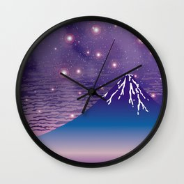 Hokusai Fuji under the Stars Wall Clock