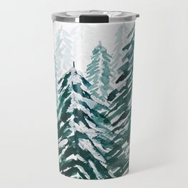 snowy pine forest in green Travel Mug