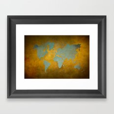 World map 9 green gold Framed Art Print
