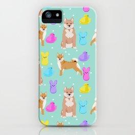 Shiba Inu dog breed peeps marshmallow easter spring dog pattern gifts Shiba Inus iPhone Case