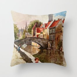 Vintage retro style Bruges travel advertising Throw Pillow