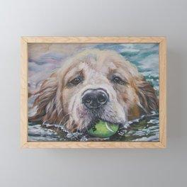 GOLDEN RETRIEVER dog portrait painting by L.A.Shepard fine art Framed Mini Art Print