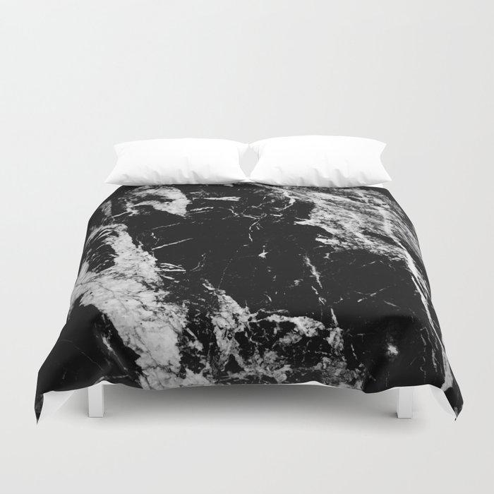 Dark marble black white stone1 Bettbezug
