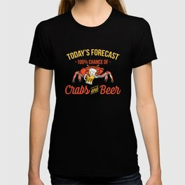 Crabs And Beer Forecast Alcohol Seafood Drinking T-shirt
