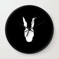 donnie darko Wall Clocks featuring Minimal Cinema - Donnie Darko by Quellasenzanick