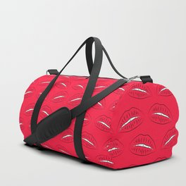 Kiss, female lips and teeth. Black silhouettes kiss with white teeth on a red background Duffle Bag