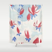 china Shower Curtains featuring China Magnolias by Dreamy Me