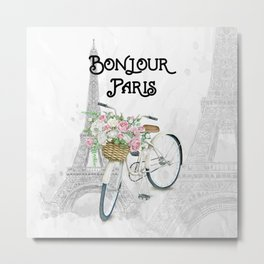 Vintage Bicycle Bonjour Paris Metal Print