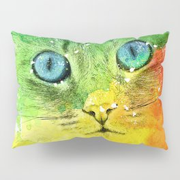 Abstract Bright Cat Pillow Sham