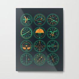 Aircraft Flight Instruments - Full Night Metal Print