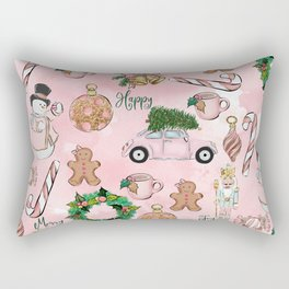 THE VERY PINK CHRISTMAS WATERCOLOR PATTERN Rectangular Pillow