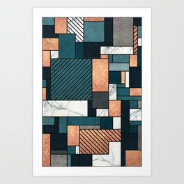 Random Pattern - Copper, Marble, and Blue Concrete Art Print