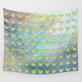Gold butterflies on textured background Wall Tapestry