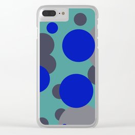bubbles blue grey turquoise design Clear iPhone Case