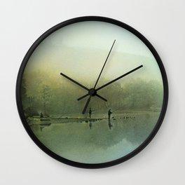 Fishing at Dawn Wall Clock