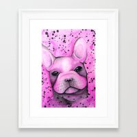 frenchie Framed Art Prints featuring Frenchie  by ClarissaLynnArt